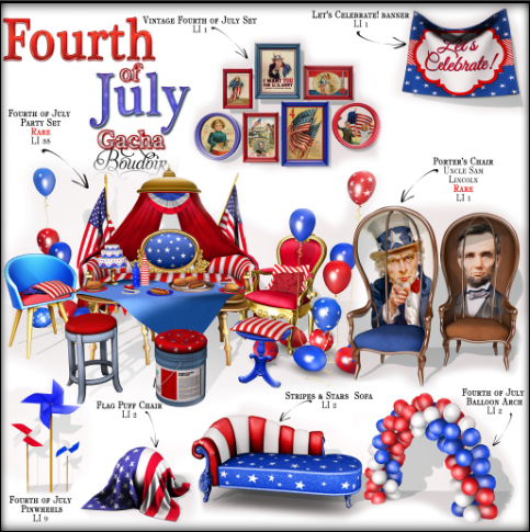 Boudoir 4th of July gacha stuff