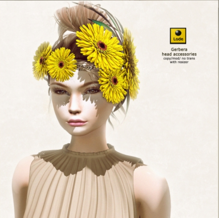 Lode gerbera headpiece